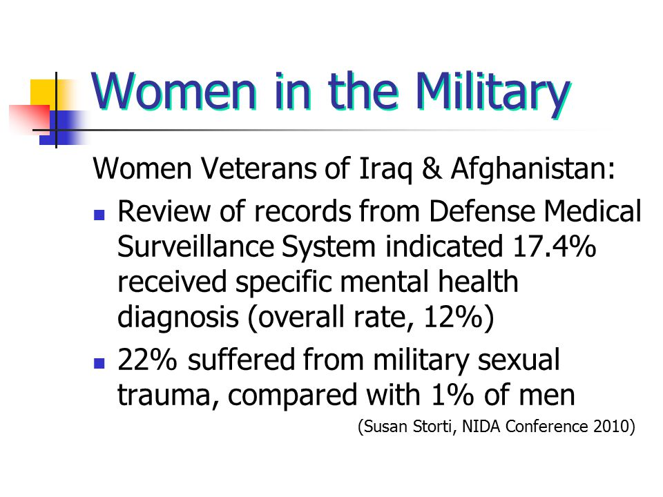 Women in the Military Women Veterans of Iraq & Afghanistan: Review of records from Defense Medical Surveillance System indicated 17.4% received specif