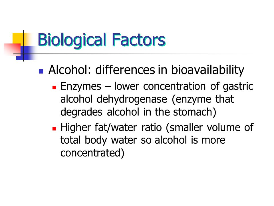 Biological Factors Alcohol: differences in bioavailability Enzymes – lower concentration of gastric alcohol dehydrogenase (enzyme that degrades alcoho