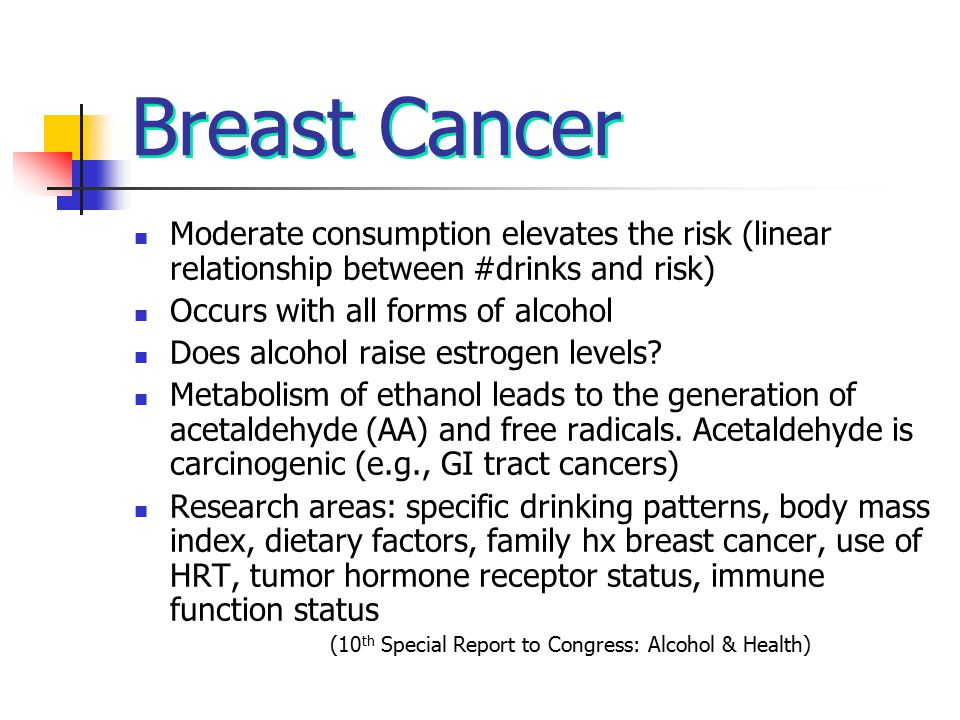 Breast Cancer Moderate consumption elevates the risk (linear relationship between #drinks and risk) Occurs with all forms of alcohol Does alcohol rais