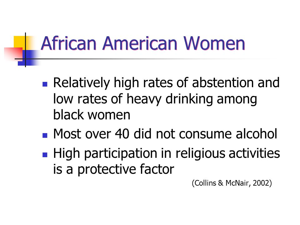 African American Women Relatively high rates of abstention and low rates of heavy drinking among black women Most over 40 did not consume alcohol High participation in religious activities is a protective factor (Collins & McNair, 2002)