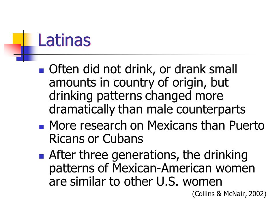 Latinas Often did not drink, or drank small amounts in country of origin, but drinking patterns changed more dramatically than male counterparts More