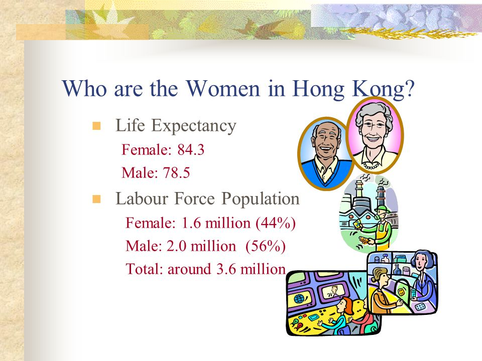 Life Expectancy Female: 84.3 Male: 78.5 Labour Force Population Female: 1.6 million (44%) Male: 2.0 million (56%) Total: around 3.6 million