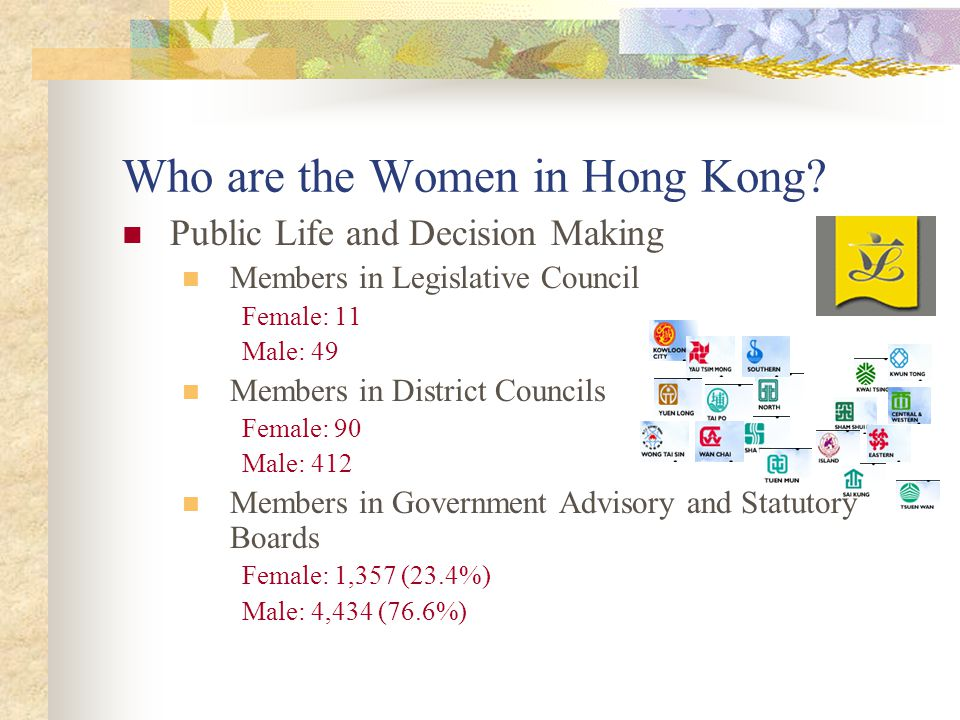 Who are the Women in Hong Kong? Public Life and Decision Making Members in Legislative Council Female: 11 Male: 49 Members in District Councils Female