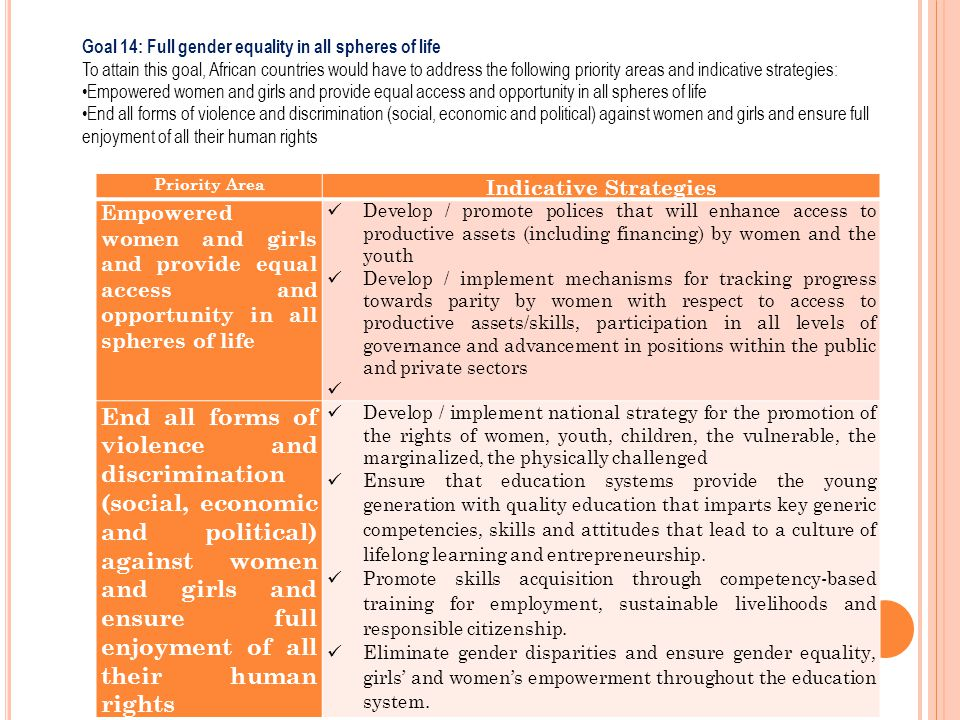 Priority Area Indicative Strategies Empowered women and girls and provide equal access and opportunity in all spheres of life Develop / promote police