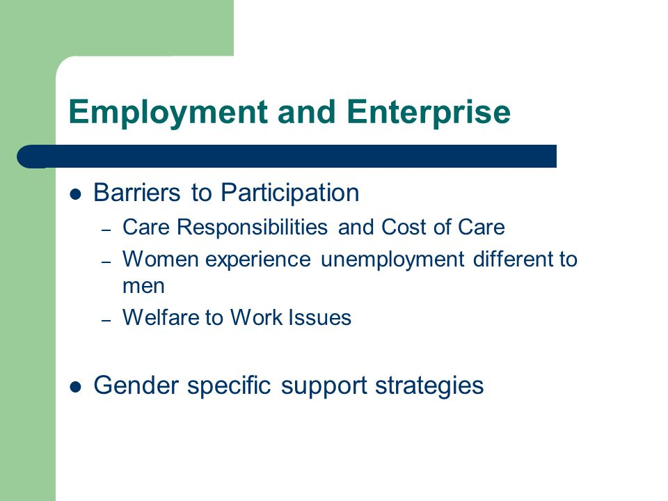 Employment and Enterprise Barriers to Participation – Care Responsibilities and Cost of Care – Women experience unemployment different to men – Welfare to Work Issues Gender specific support strategies