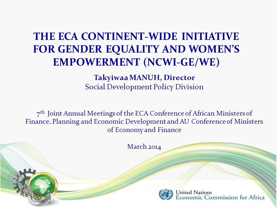 Outline 1.Introduction 2.Challenges to achieving gender equality in Africa 3.ECA' s response 4.The New ECA Initiative on Gender Equality and Women's Empowerment Objectives Value addition Priority areas 5.Implementation modalities 6.Partnerships 7.Next steps 2