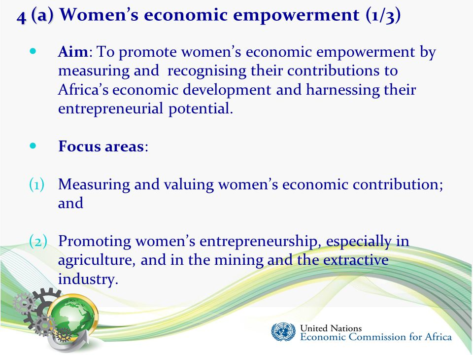 4 (a) 4 (a) Women's economic empowerment (1/3) Aim: To promote women's economic empowerment by measuring and recognising their contributions to Africa