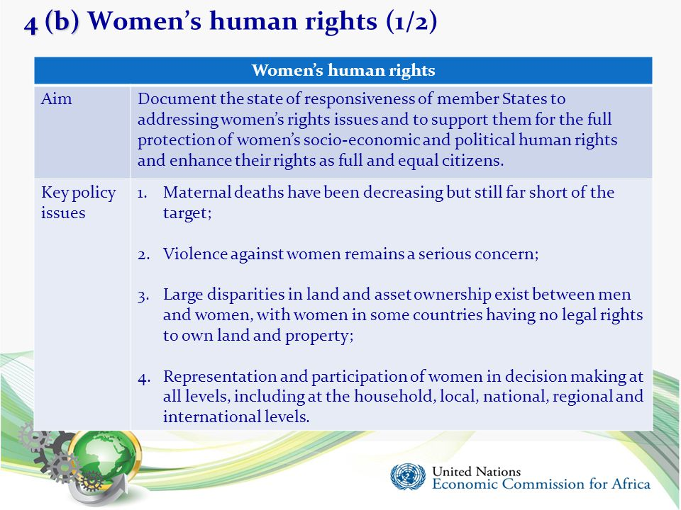 4 (b) 4 (b) Women's human rights (1/2) 16 Women's human rights AimDocument the state of responsiveness of member States to addressing women's rights i