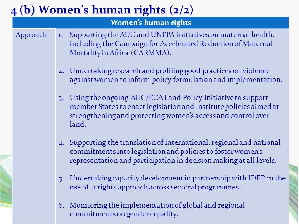 4 (b) 4 (b) Women's human rights (2/2) 17 Women's human rights Approach1.Supporting the AUC and UNFPA initiatives on maternal health, including the Ca