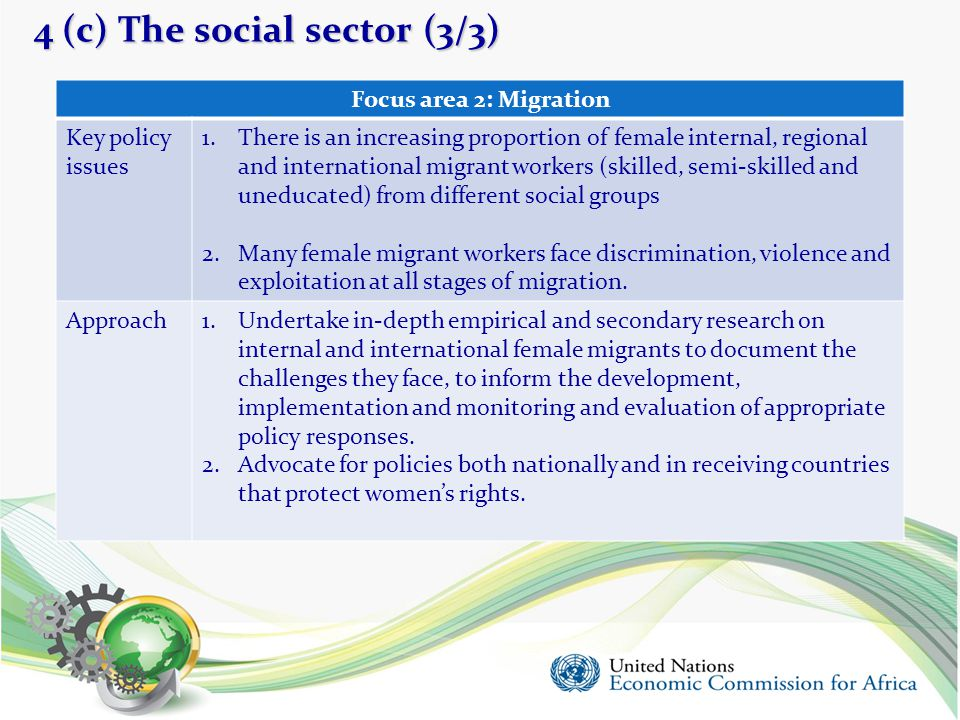 4 (c) The social sector (3/3) 20 Focus area 2: Migration Key policy issues 1.There is an increasing proportion of female internal, regional and intern