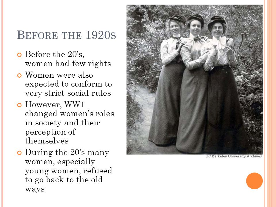 B EFORE THE 1920 S Before the 20's, women had few rights Women were also expected to conform to very strict social rules However, WW1 changed women's roles in society and their perception of themselves During the 20's many women, especially young women, refused to go back to the old ways