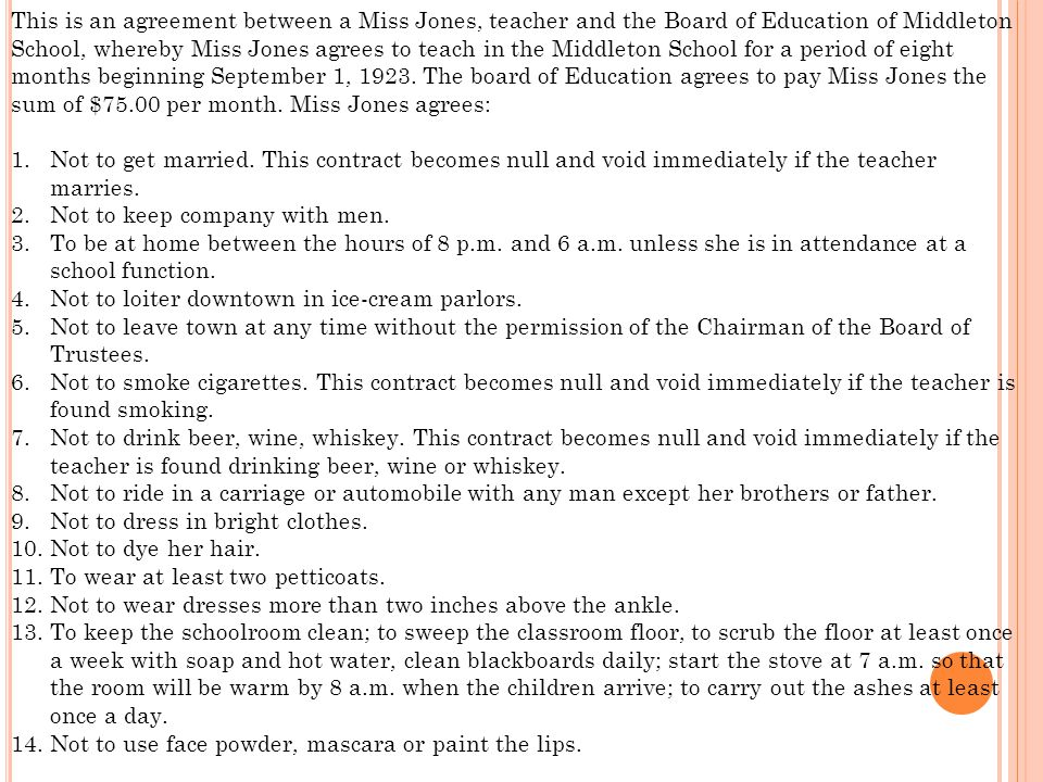 This is an agreement between a Miss Jones, teacher and the Board of Education of Middleton School, whereby Miss Jones agrees to teach in the Middleton School for a period of eight months beginning September 1, 1923.