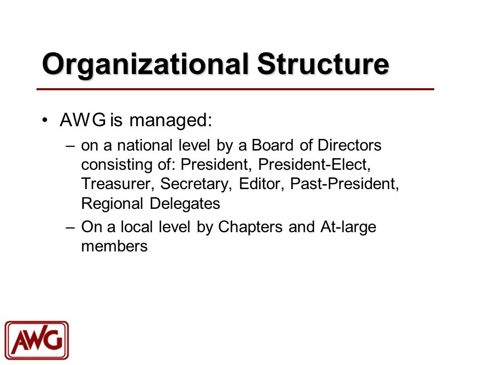 Organizational Structure AWG is managed: –on a national level by a Board of Directors consisting of: President, President-Elect, Treasurer, Secretary,