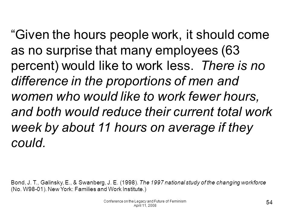 Conference on the Legacy and Future of Feminism April 11, 2008 54 Given the hours people work, it should come as no surprise that many employees (63 percent) would like to work less.