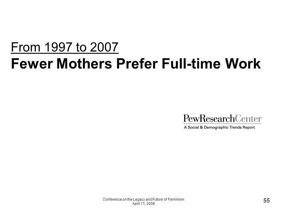 Conference on the Legacy and Future of Feminism April 11, 2008 55 From 1997 to 2007 Fewer Mothers Prefer Full-time Work
