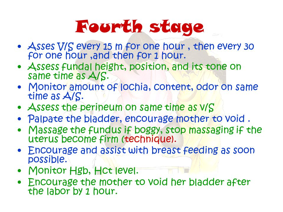 Fourth stage Asses V/S every 15 m for one hour, then every 30 for one hour,and then for 1 hour. Assess fundal height, position, and its tone on same t