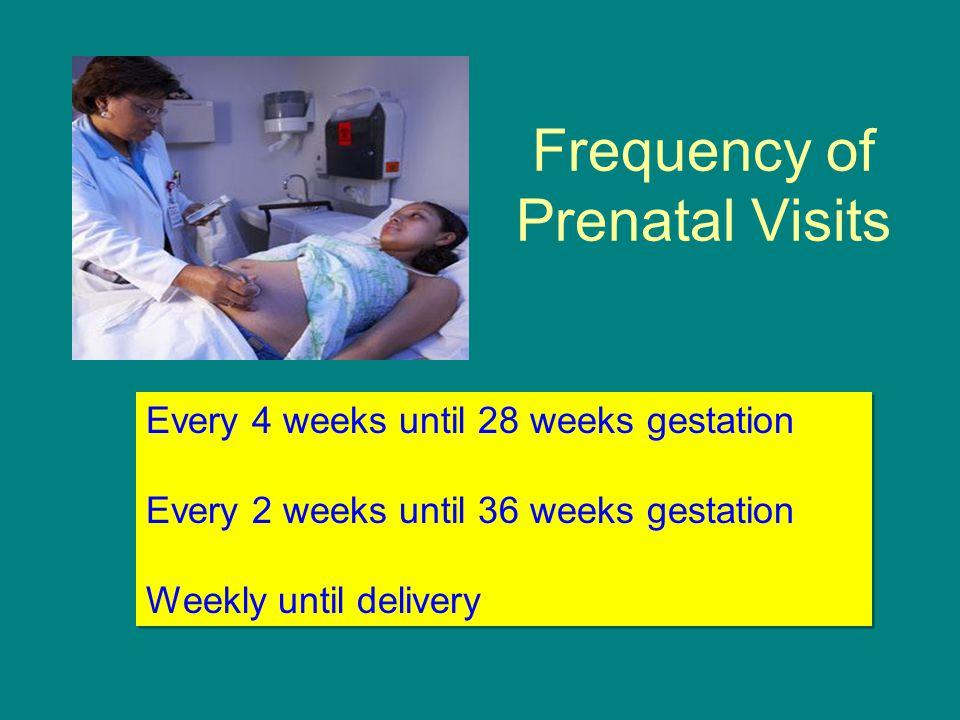Frequency of Prenatal Visits Every 4 weeks until 28 weeks gestation Every 2 weeks until 36 weeks gestation Weekly until delivery Every 4 weeks until 2