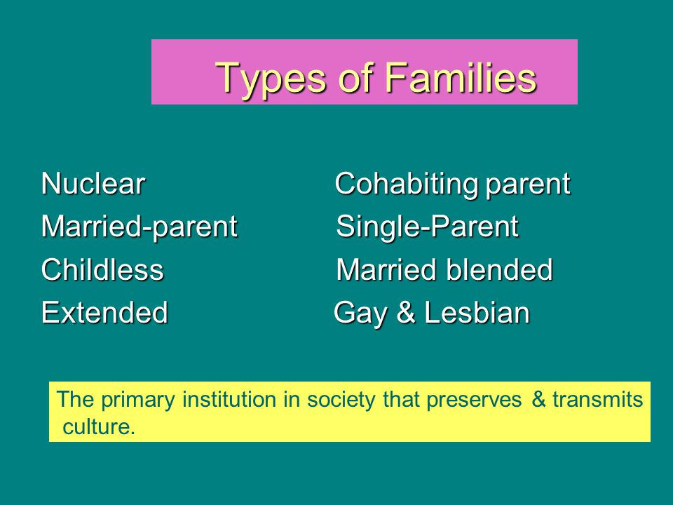 Types of Families Types of Families Nuclear Cohabiting parent Married-parent Single-Parent Childless Married blended Extended Gay & Lesbian The primar