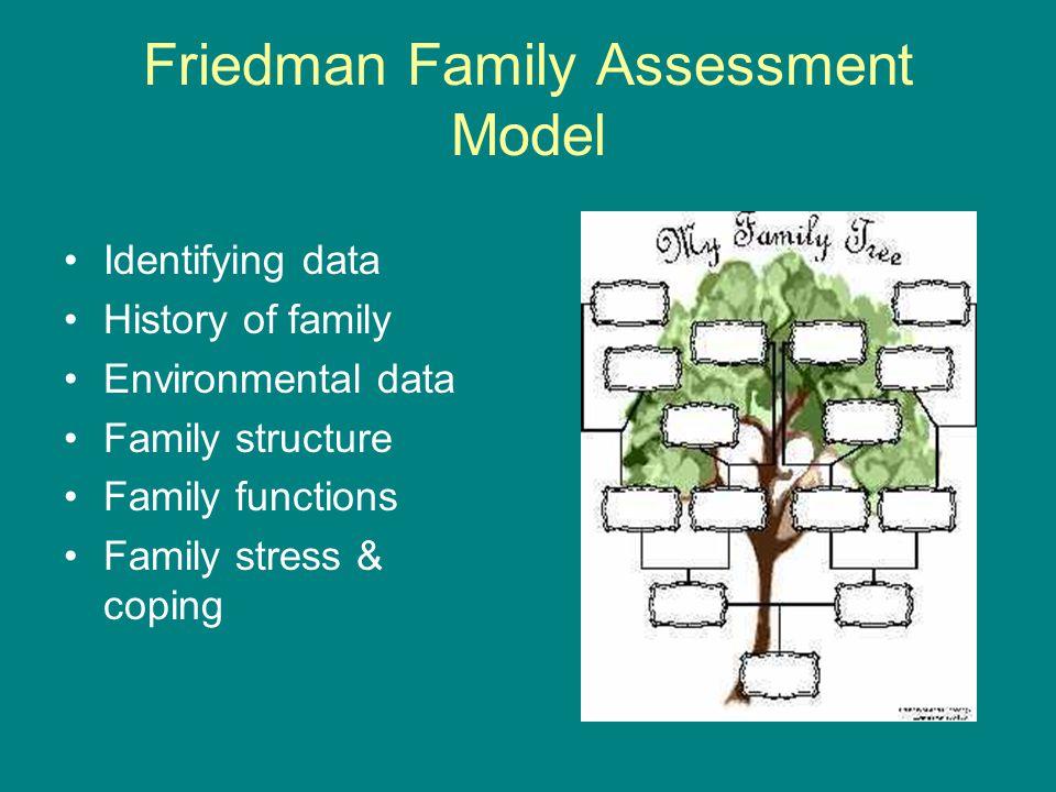 Friedman Family Assessment Model Identifying data History of family Environmental data Family structure Family functions Family stress & coping