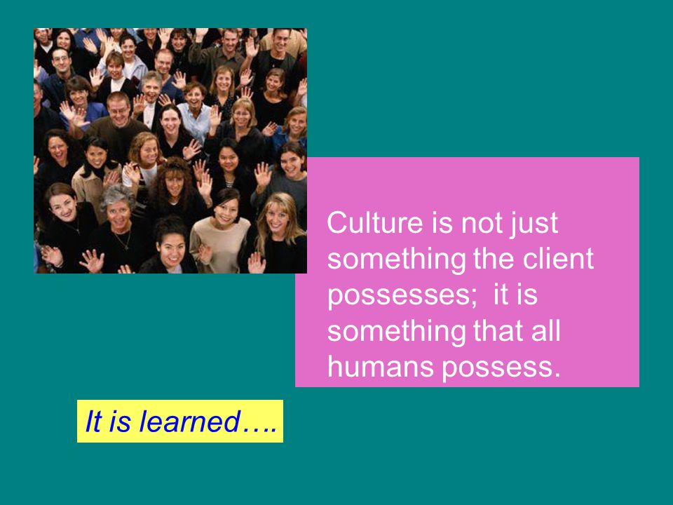 Culture is not just something the client possesses; it is something that all humans possess. It is learned….