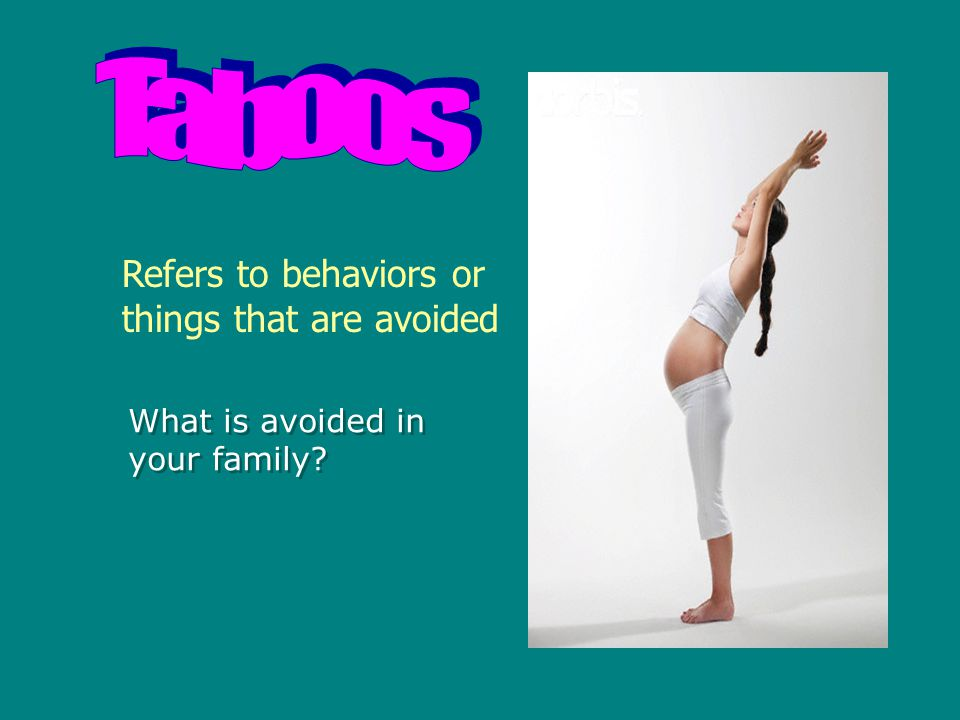 Refers to behaviors or things that are avoided What is avoided in your family? What is avoided in your family?