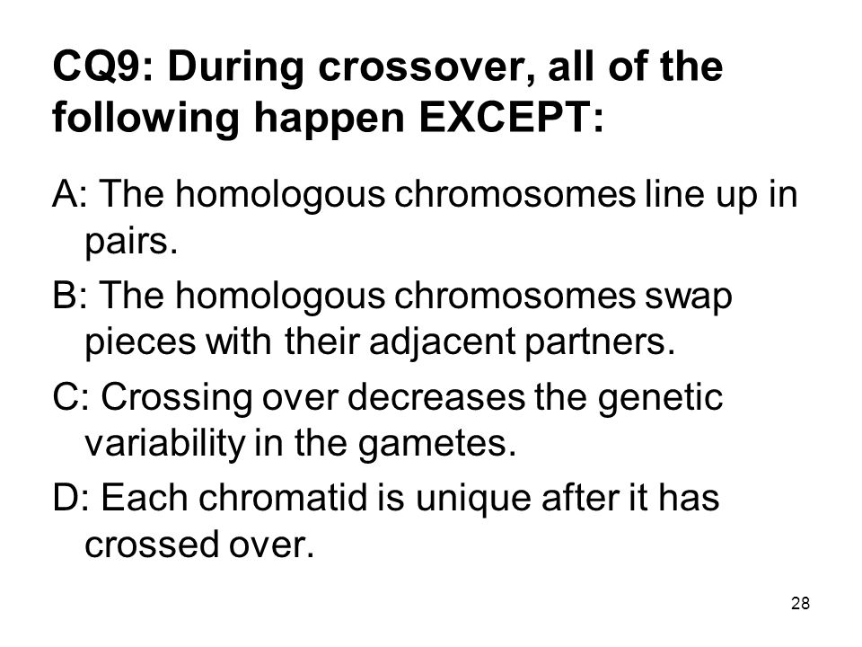28 CQ9: During crossover, all of the following happen EXCEPT: A: The homologous chromosomes line up in pairs.