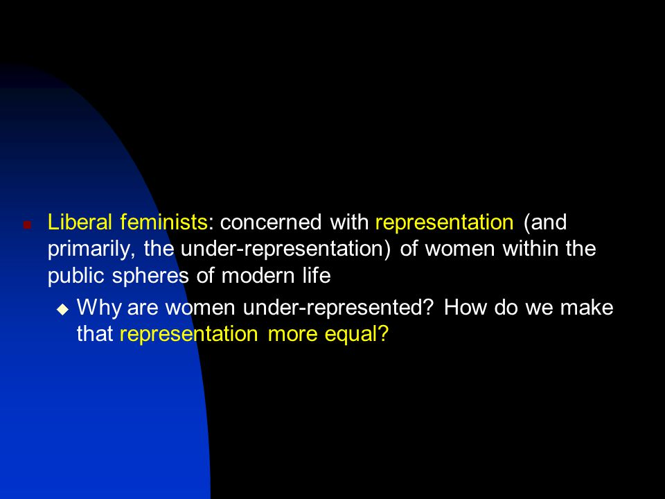 Liberal feminists: concerned with representation (and primarily, the under-representation) of women within the public spheres of modern life  Why are