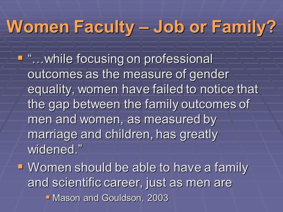 Women Faculty – Job or Family.