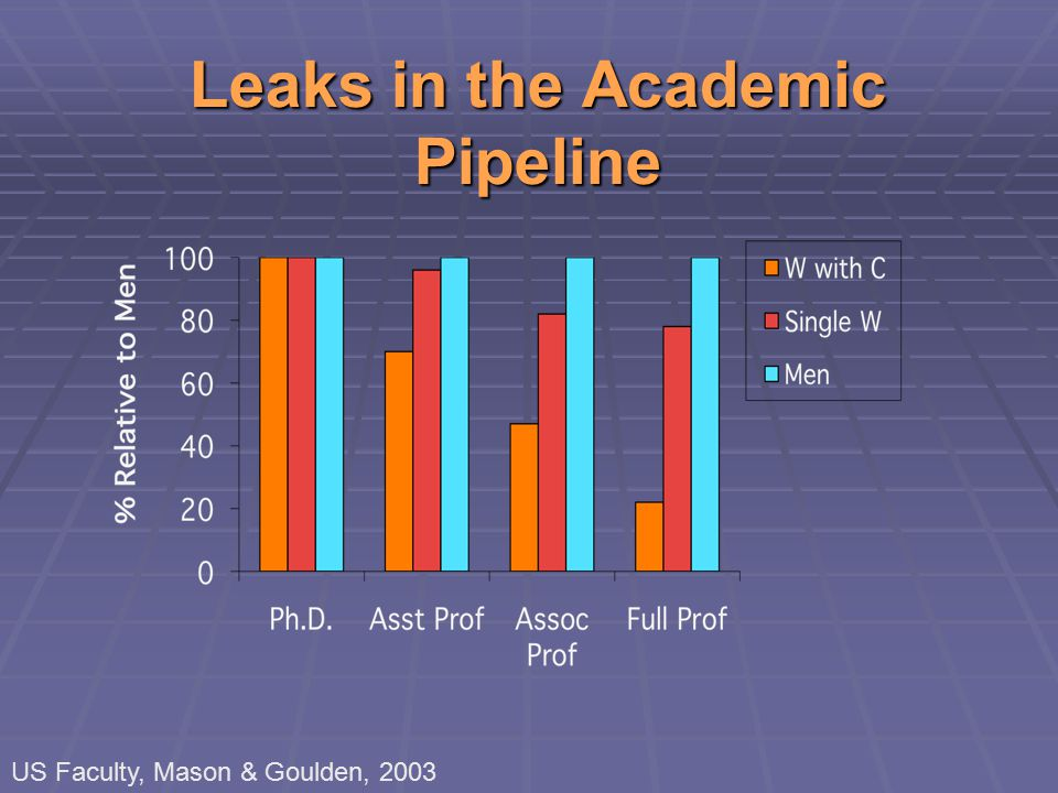 Leaks in the Academic Pipeline US Faculty, Mason & Goulden, 2003