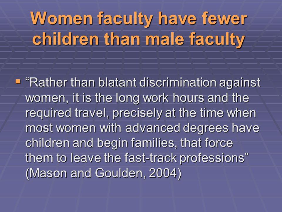 Who Gets Tenure? MenWomen US Faculty, Mason & Goulden, 2003