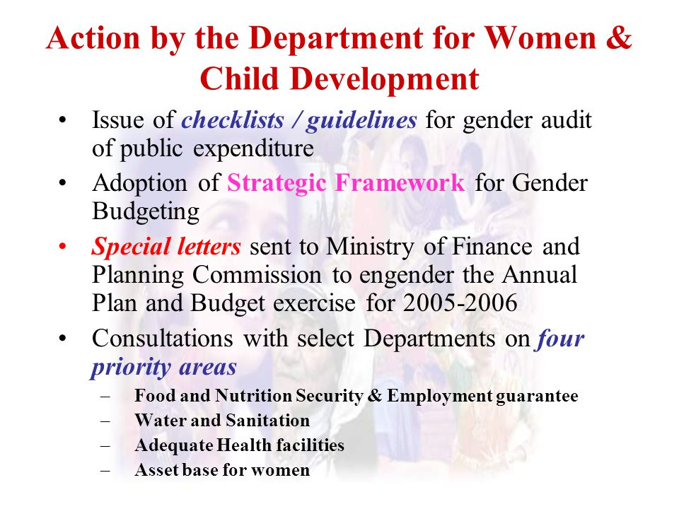 Action by the Department for Women & Child Development Issue of checklists / guidelines for gender audit of public expenditure Adoption of Strategic F
