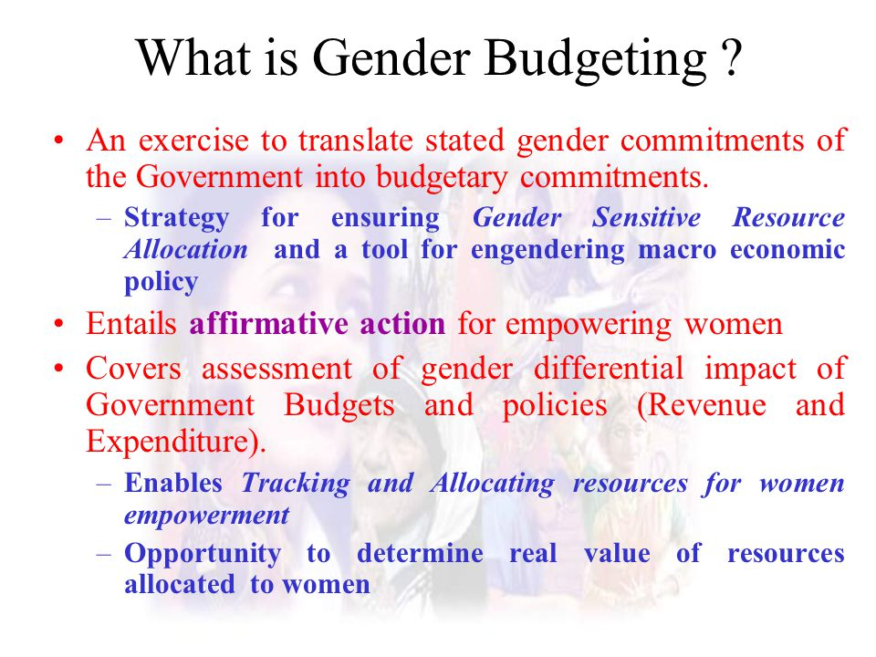 What is Gender Budgeting ? An exercise to translate stated gender commitments of the Government into budgetary commitments. –Strategy for ensuring Gen