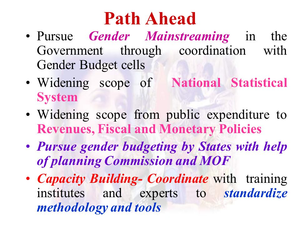 Path Ahead Pursue Gender Mainstreaming in the Government through coordination with Gender Budget cells Widening scope of National Statistical System W