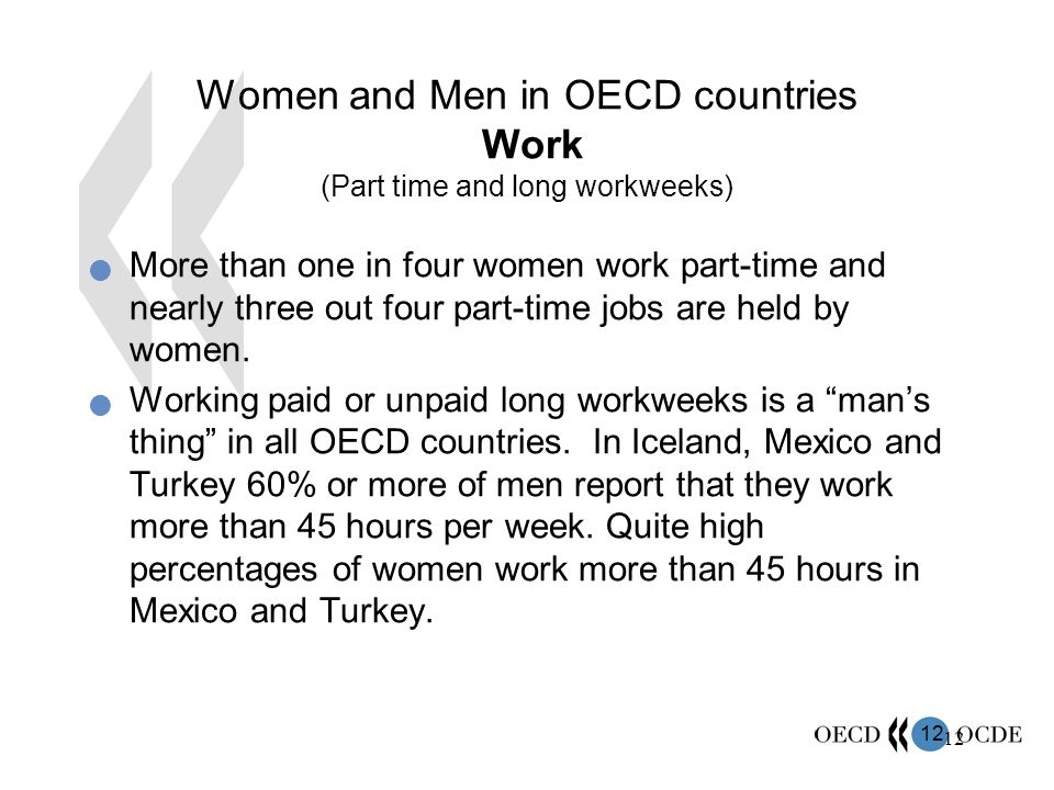 12 Women and Men in OECD countries Work (Part time and long workweeks) More than one in four women work part-time and nearly three out four part-time jobs are held by women.