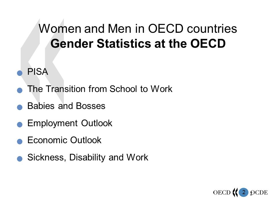 3 3 Women and Men in OECD countries Gender Statistics at the OECD Social Integration of Migrants International Migration Outlook Women's Entrepreneurship Guidelines for Multinational Enterprises Health Care Quality Indicators Pensions at a Glance Non-member Countries Gender Institutions and Development Database