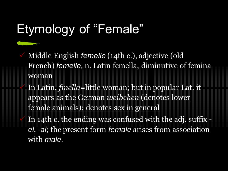 "Etymology of ""Female"" Middle English femelle (14th c.), adjective (old French) femelle, n. Latin femella, diminutive of femina woman In Latin, fmella="