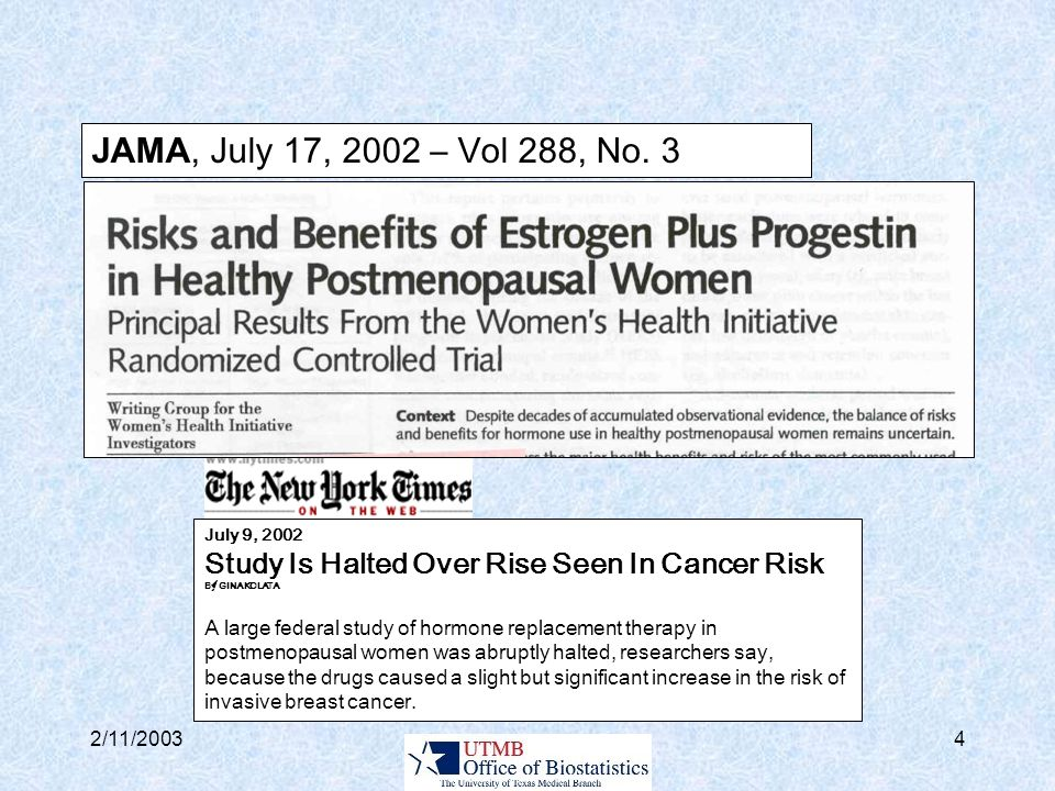2/11/20035 July 10, 2002 Hormone Replacement Study A Shock to the Medical System By GINA KOLATA with MELODY PETERSEN The announcement yesterday that a hormone replacement regimen taken by six million American women did more harm than good was met with puzzlement and disbelief by women and their doctors across the country.
