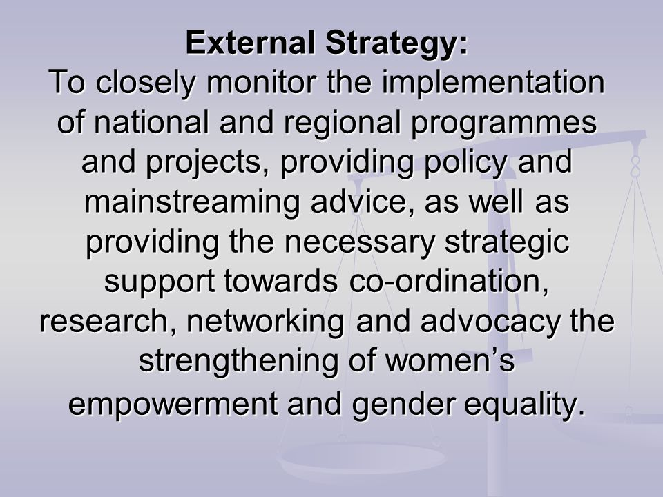 External Strategy: To closely monitor the implementation of national and regional programmes and projects, providing policy and mainstreaming advice, as well as providing the necessary strategic support towards co-ordination, research, networking and advocacy the strengthening of women's empowerment and gender equality.