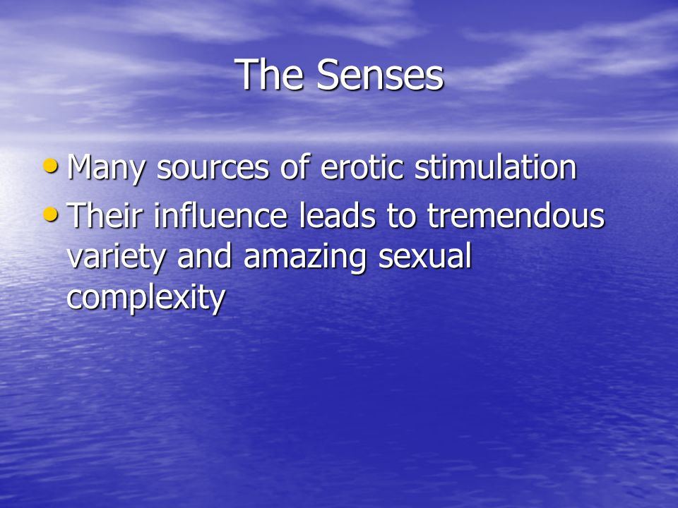 The Senses Many sources of erotic stimulation Many sources of erotic stimulation Their influence leads to tremendous variety and amazing sexual comple