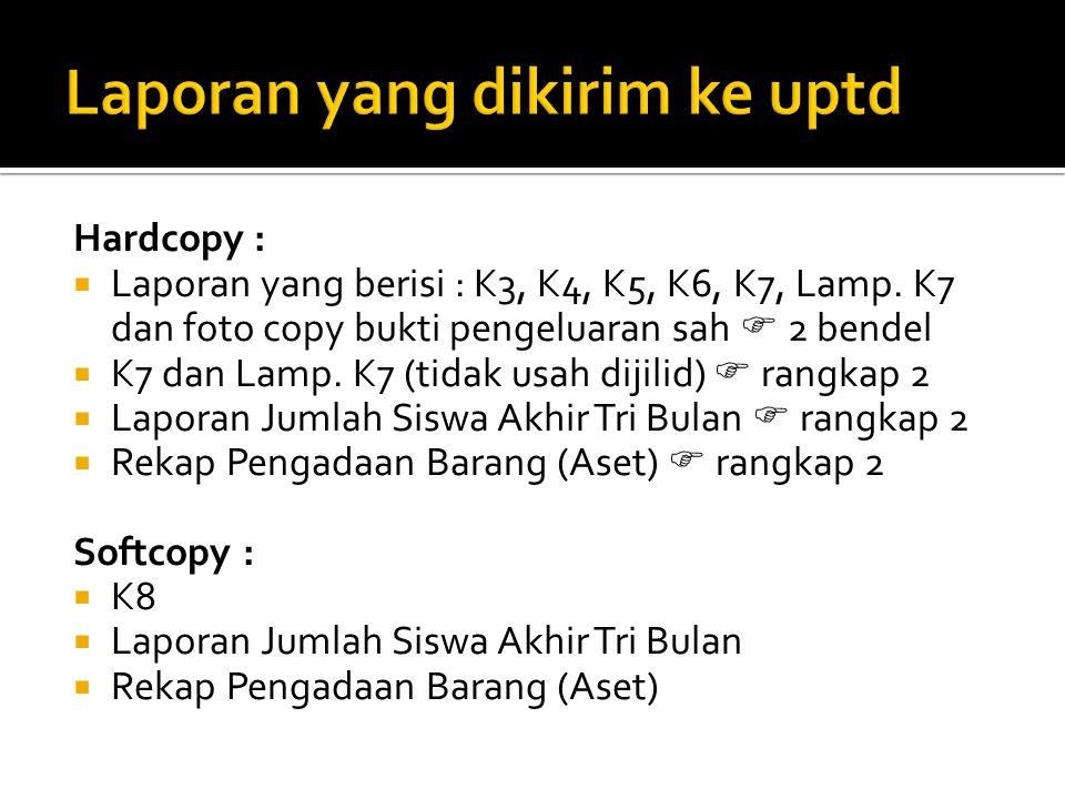 Hardcopy :  Laporan yang berisi : K3, K4, K5, K6, K7, Lamp.