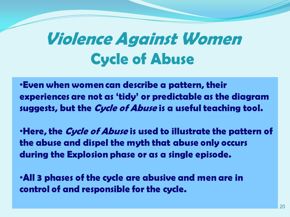 Violence Against Women Cycle of Abuse 20 Even when women can describe a pattern, their experiences are not as 'tidy' or predictable as the diagram suggests, but the Cycle of Abuse is a useful teaching tool.