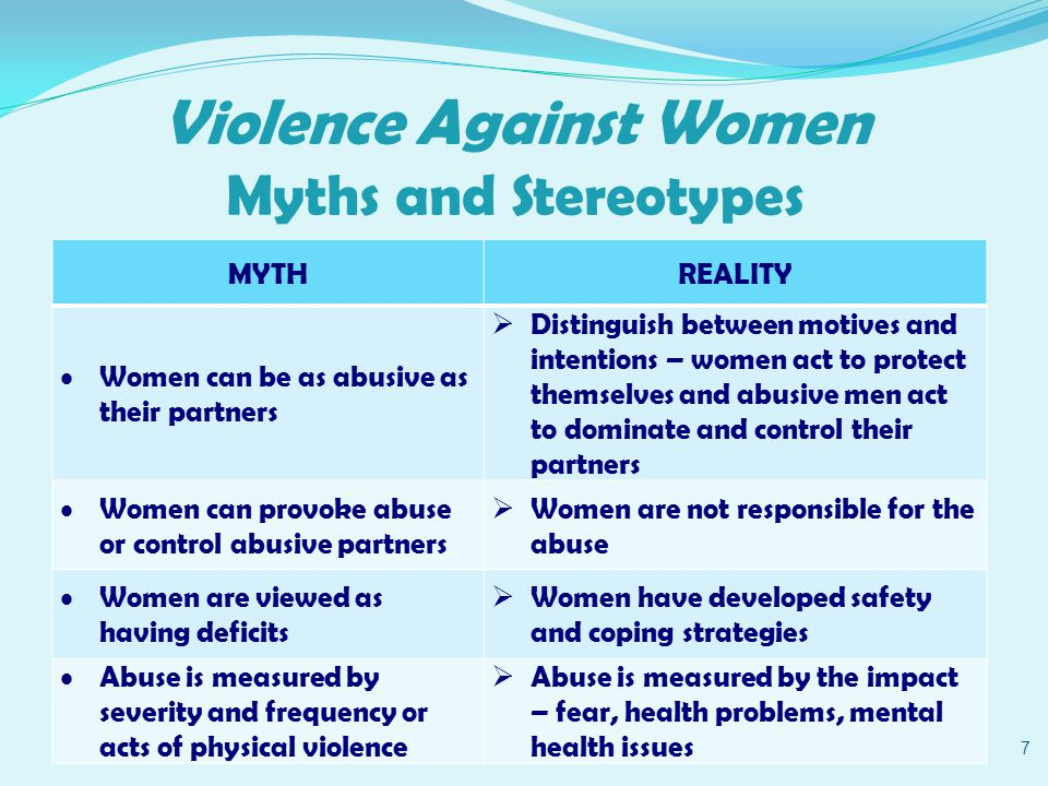 Violence Against Women Impacts of Abuse 48 Negative Stereotypes of Woman She is poor, uneducated, a minority, user of drugs and alcohol etc… Reframe – Impact, Safety Strategies and Strengths Abuse impacts women from diverse social locations including ethnicity, race, ability and socio-economic status.