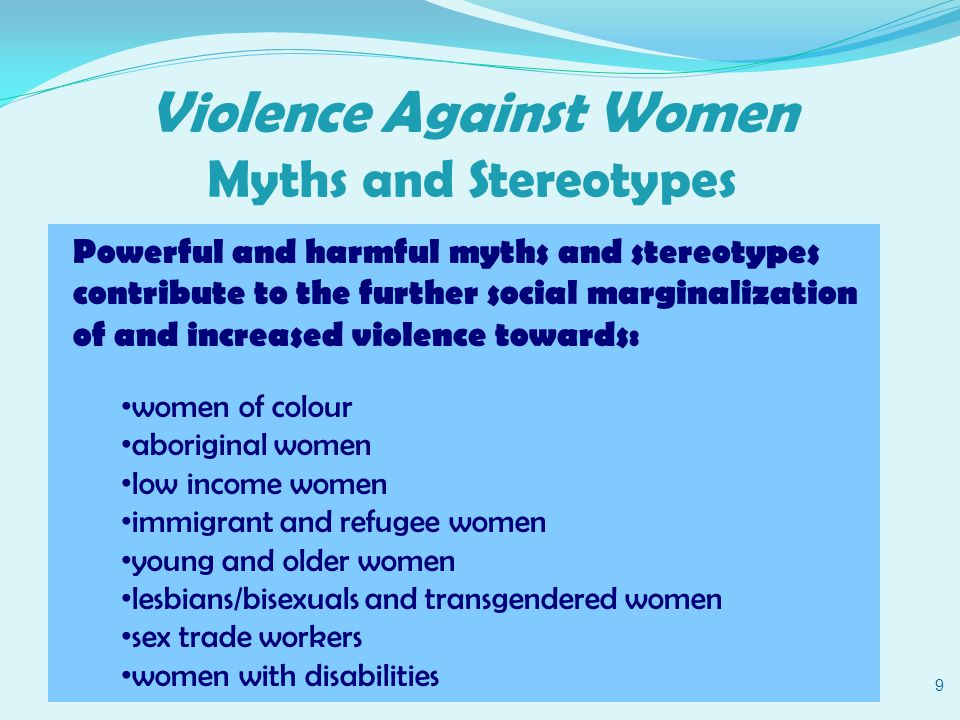 Violence Against Women Myths and Stereotypes 10 These myths are based on: ideas of what a normal family is - e.g.