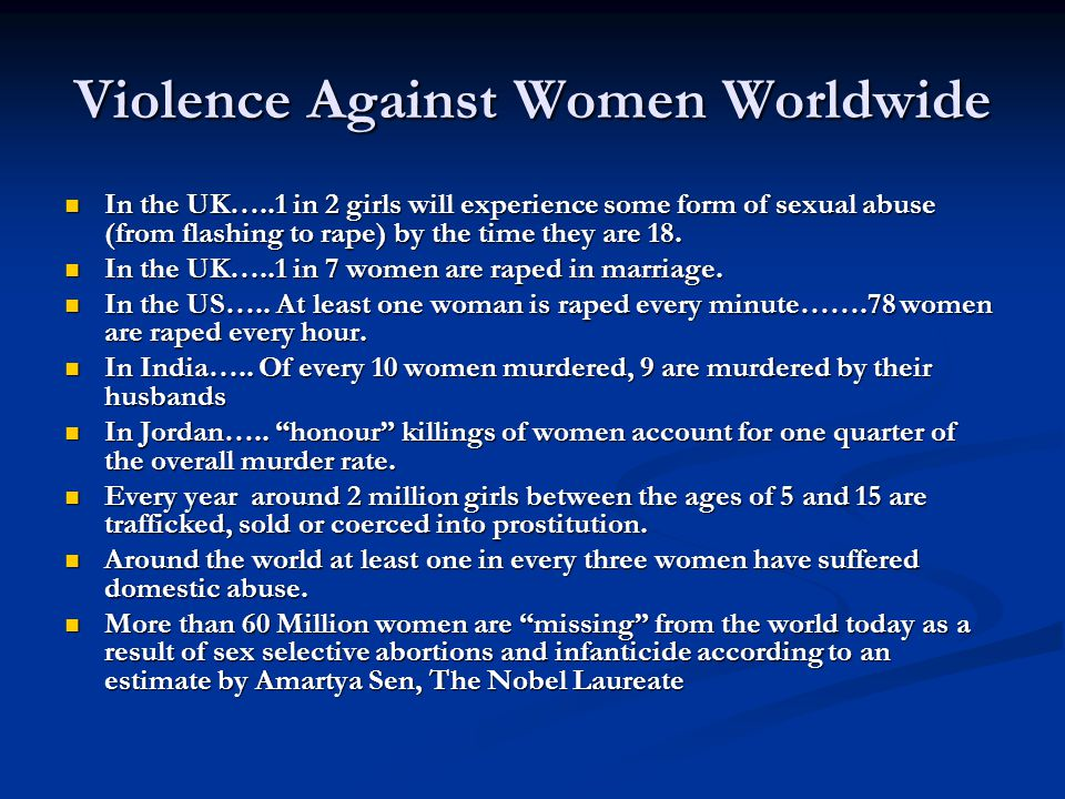 Violence Against Women Worldwide In the UK…..1 in 2 girls will experience some form of sexual abuse (from flashing to rape) by the time they are 18.