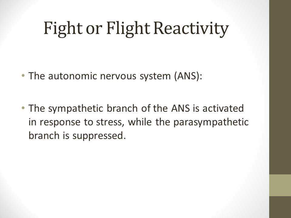 Fight or Flight Reactivity The autonomic nervous system (ANS): The sympathetic branch of the ANS is activated in response to stress, while the parasympathetic branch is suppressed.