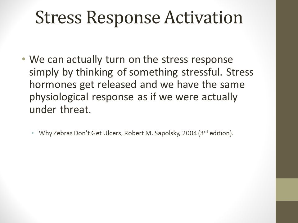 Stress Response Activation We can actually turn on the stress response simply by thinking of something stressful.