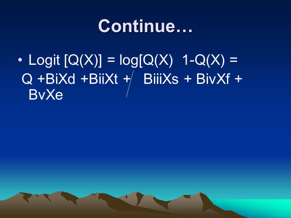 Continue… Logit [Q(X)] = log[Q(X) 1-Q(X) = Q +BiXd +BiiXt + BiiiXs + BivXf + BvXe