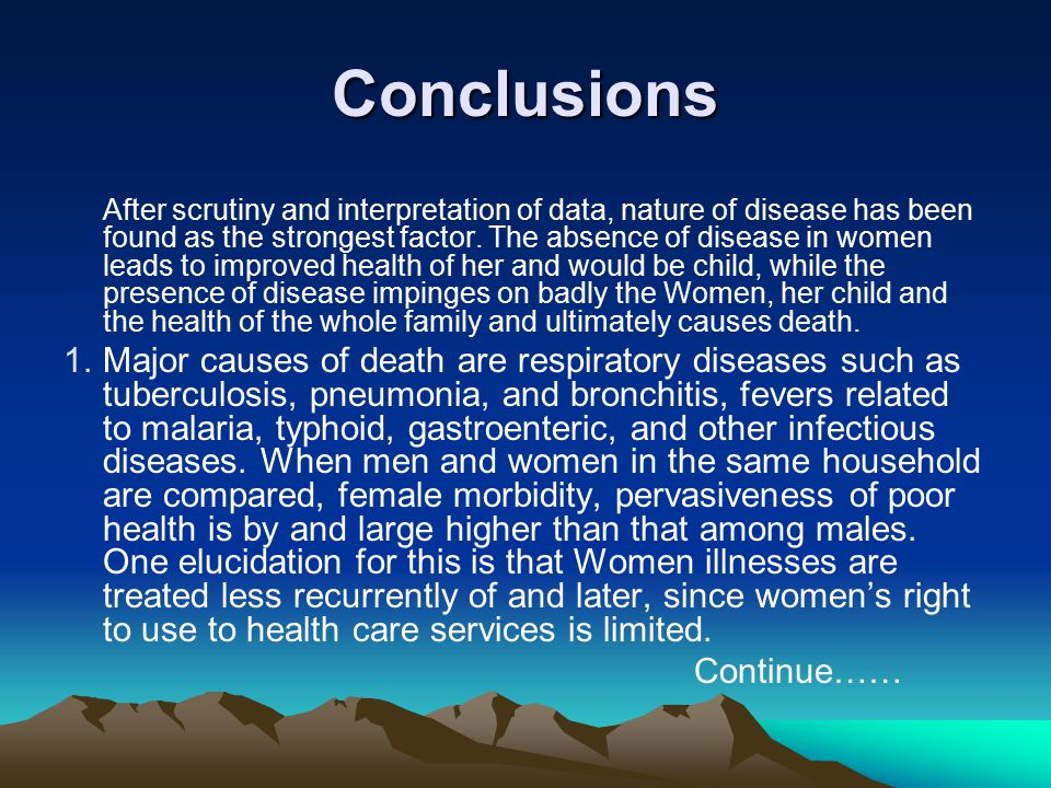 Conclusions After scrutiny and interpretation of data, nature of disease has been found as the strongest factor.