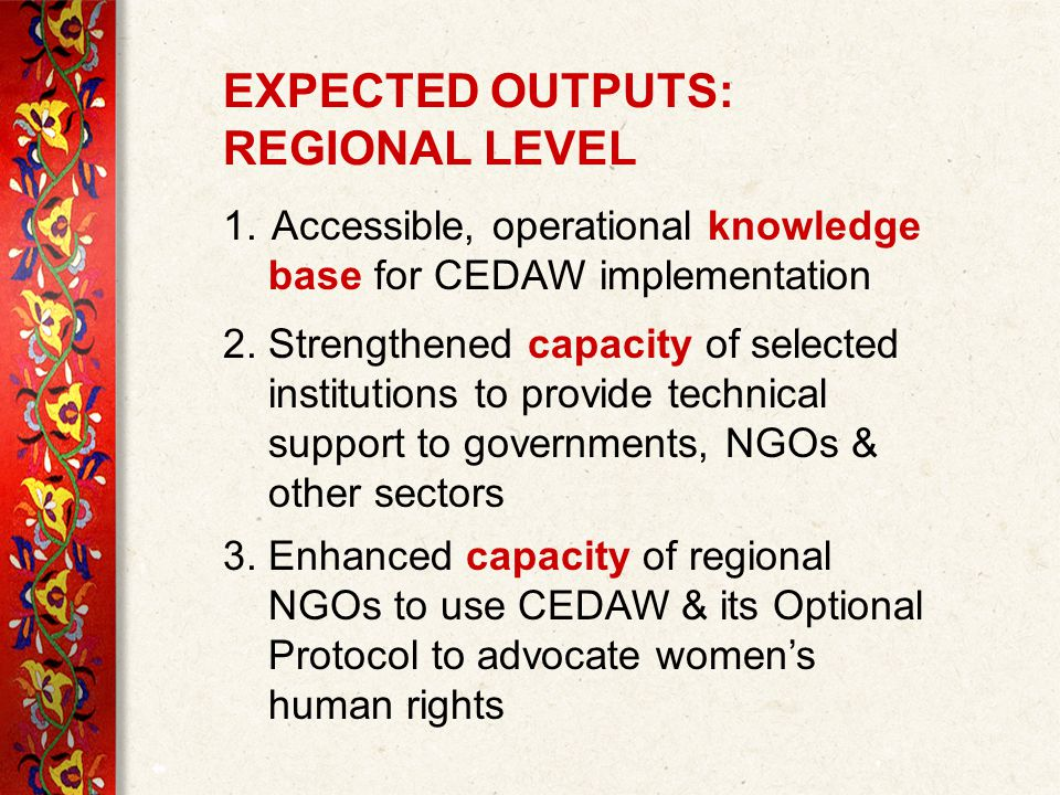 EXPECTED OUTPUTS: REGIONAL LEVEL 1.