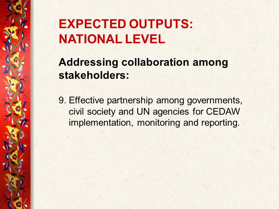 Addressing collaboration among stakeholders: 9.
